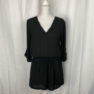 Free Press Black Shorts 3/4 Sleeve Romper Size M